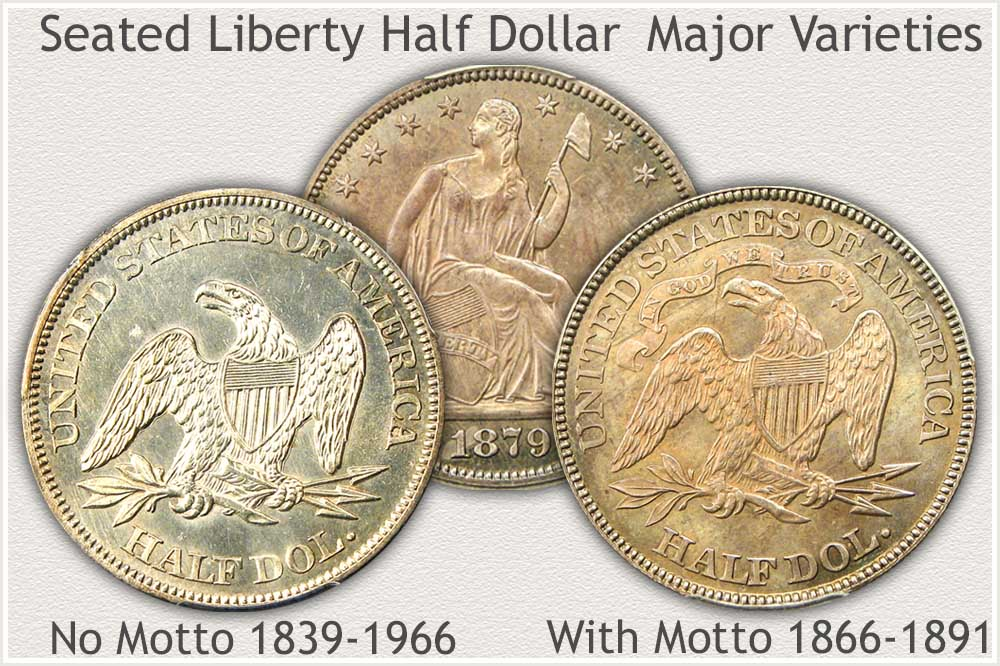 Reverse of No Motto and With Motto Seated Liberty Half Dollars