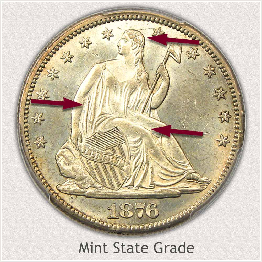 Obverse View: Mint State Grade Seated Liberty Half Dollar