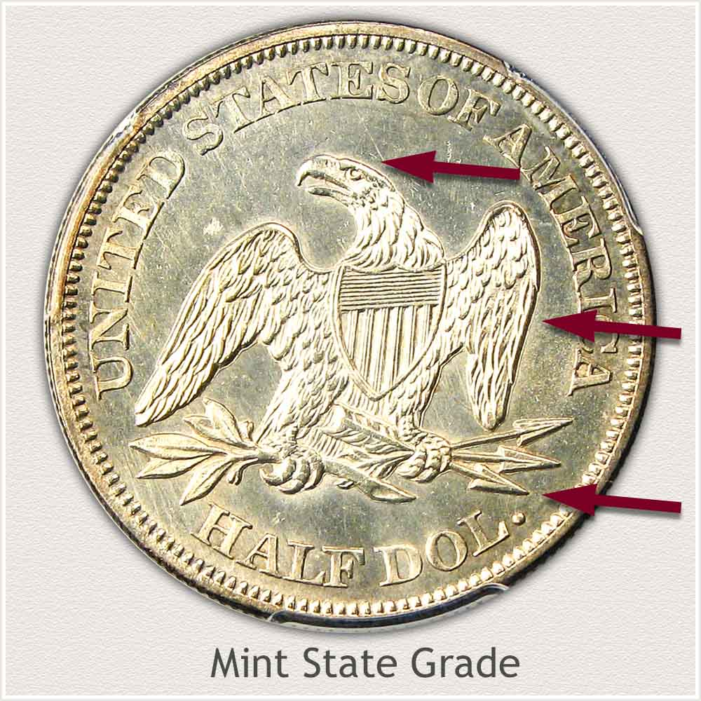 Reverse View: Mint State Grade Seated Liberty Half Dollar