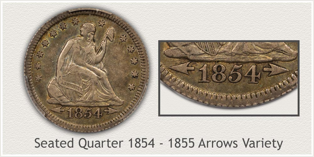 Seated Liberty Quarter 1854 to 1855 Arrows at Date Variety