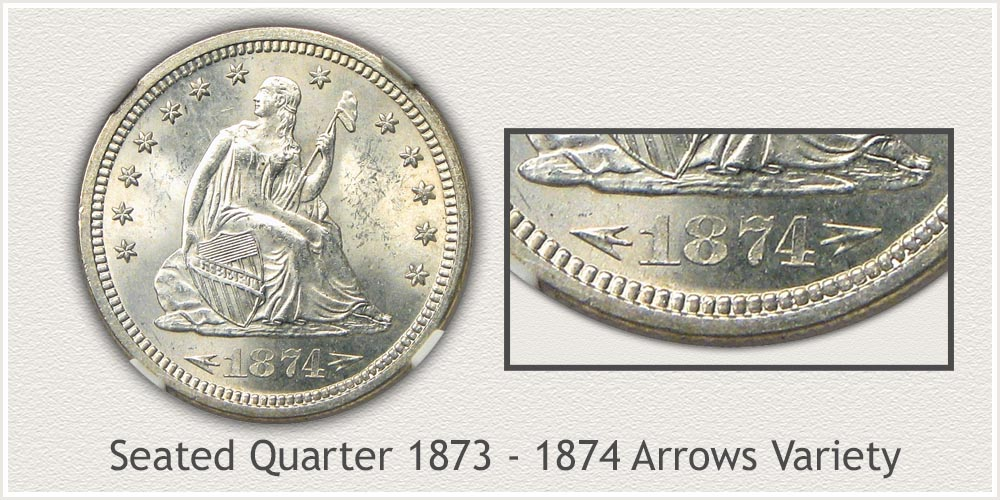 Seated Liberty Quarter 1873 to 1874 Arrows at Date Variety