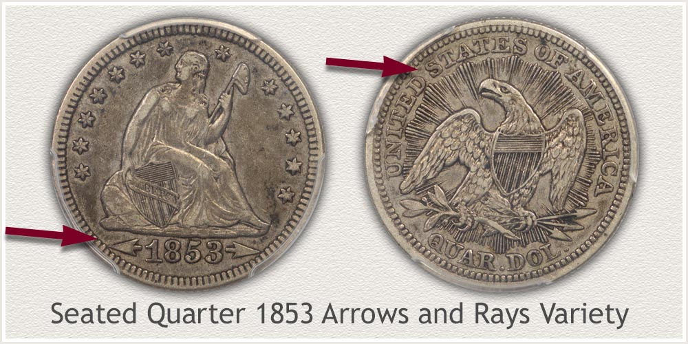 Seated Liberty Quarter 1853 Arrows and Rays Variety
