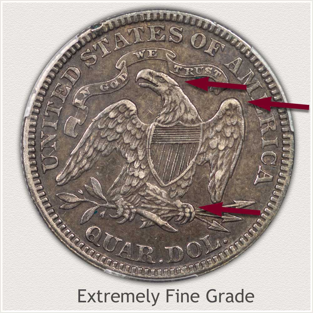 Reverse View: Extremely Fine Grade Seated Liberty Quarter