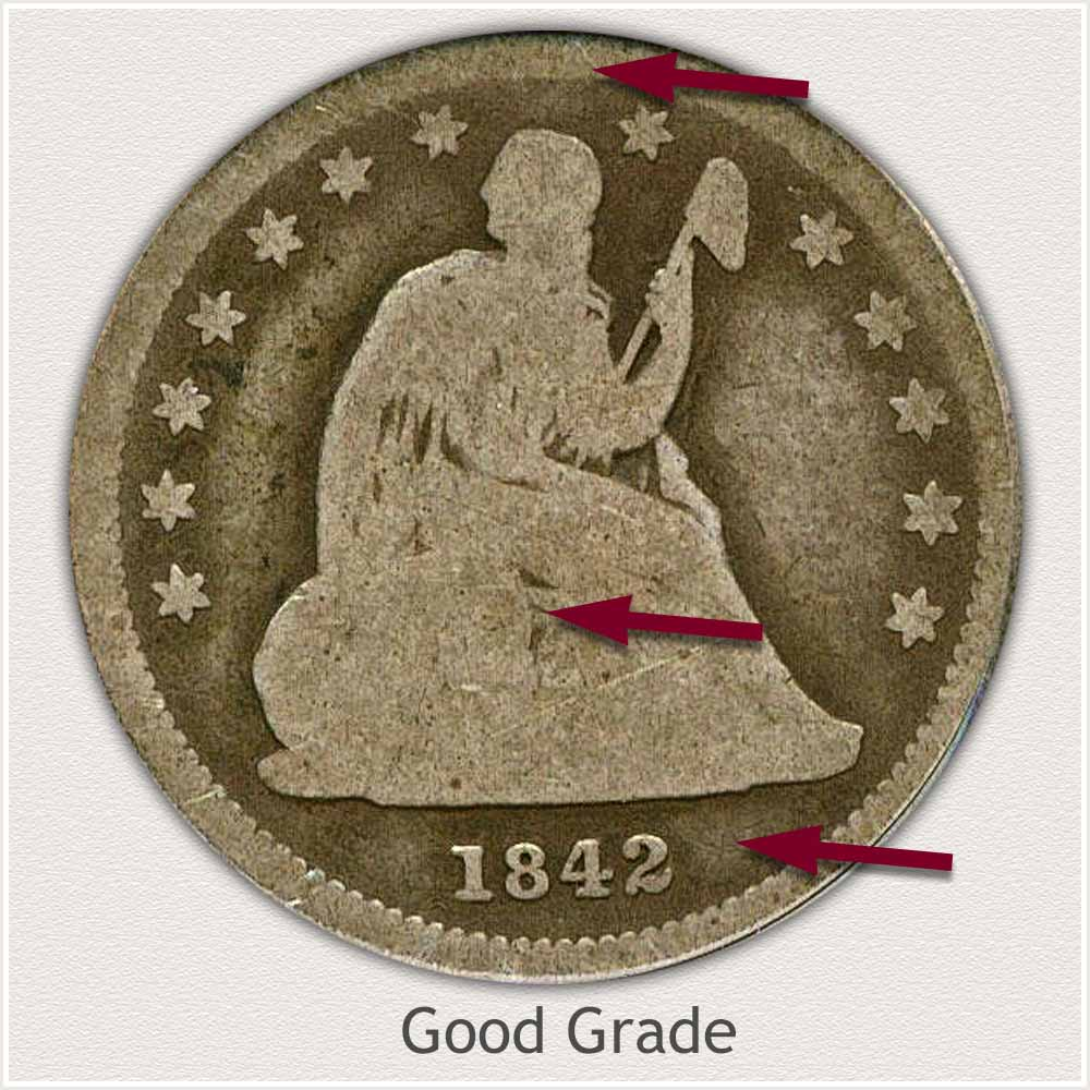 Obverse View: Good Grade Seated Liberty Quarter