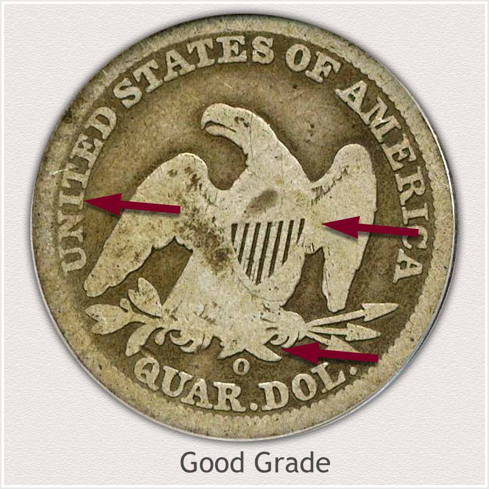 Reverse View: Good Grade Seated Liberty Quarter