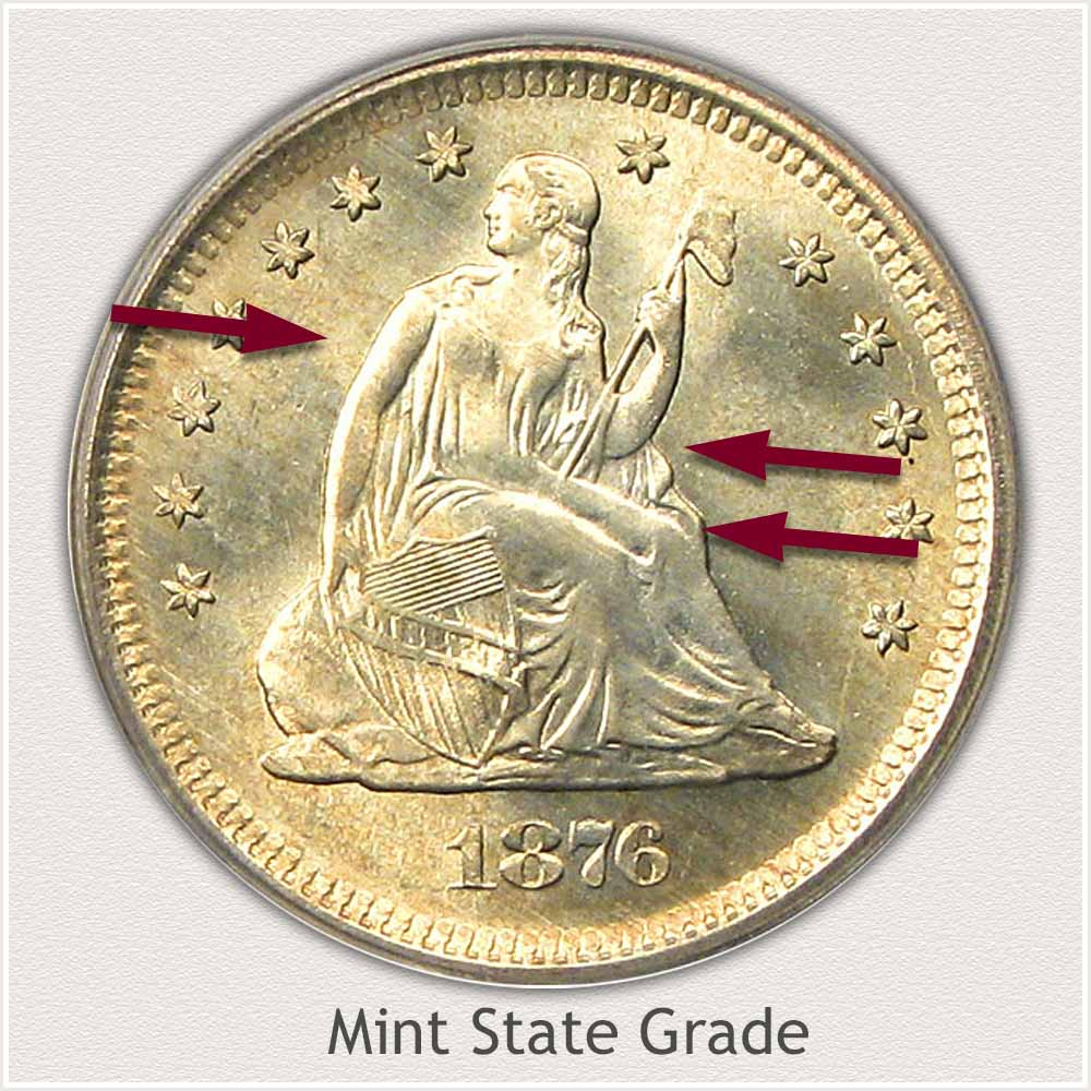 Obverse View: Mint State Grade Seated Liberty Quarter