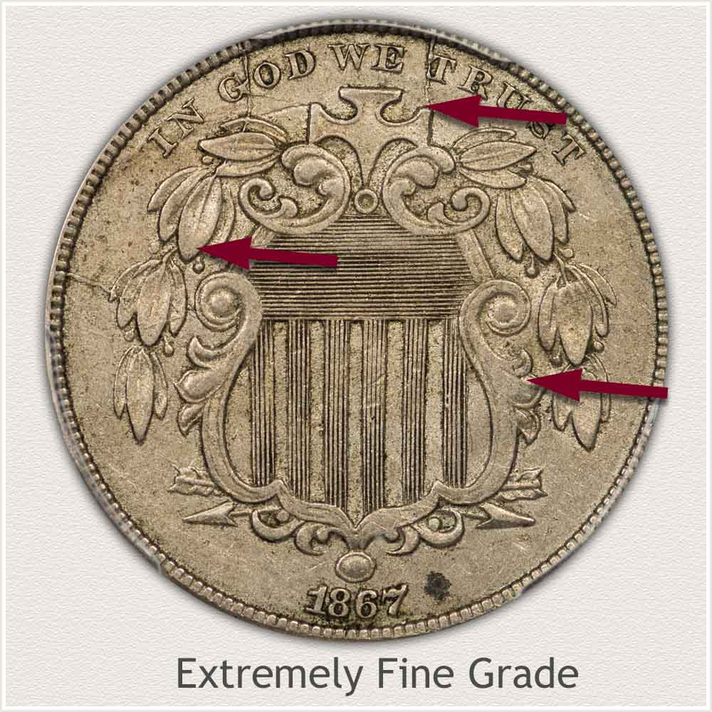 Obverse View: Extremely Fine Grade Shield Nickel