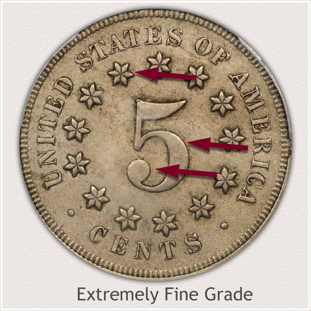 Reverse View: Extremely Fine Grade Shield Nickel