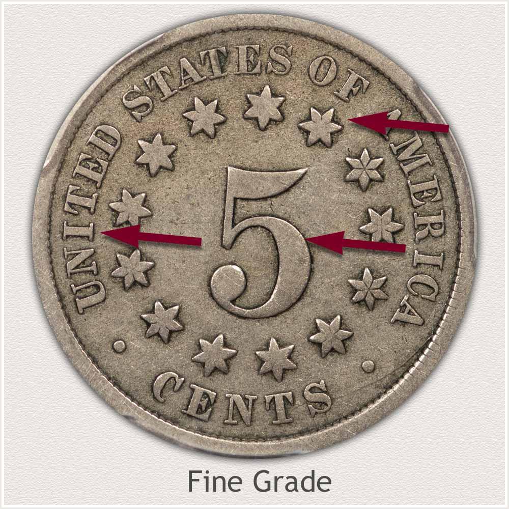 Reverse View: Fine Grade Shield Nickel