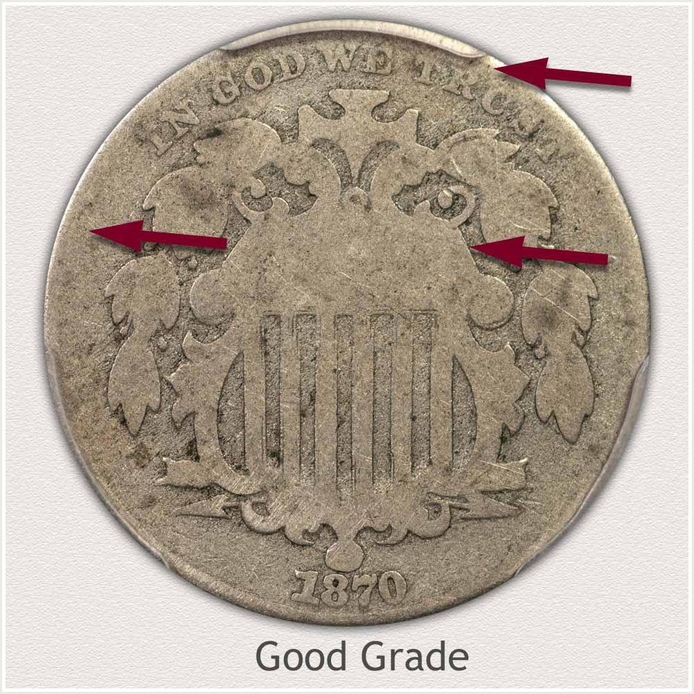 Obverse View: Good Grade Shield Nickel