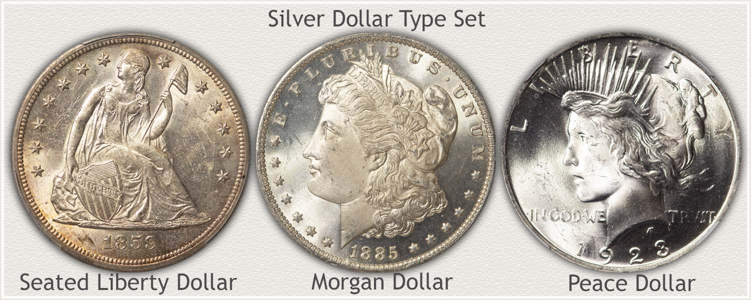 Type Set of Silver Dollars: Seated Liberty, Morgan, and Peace Silver Dollars