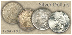 Go to...  Silver Dollar Values for Bust, Morgan and Peace Silver Dollars