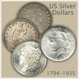 Bust Dollar, Seated Liberty, Morgan and Peace Dollar