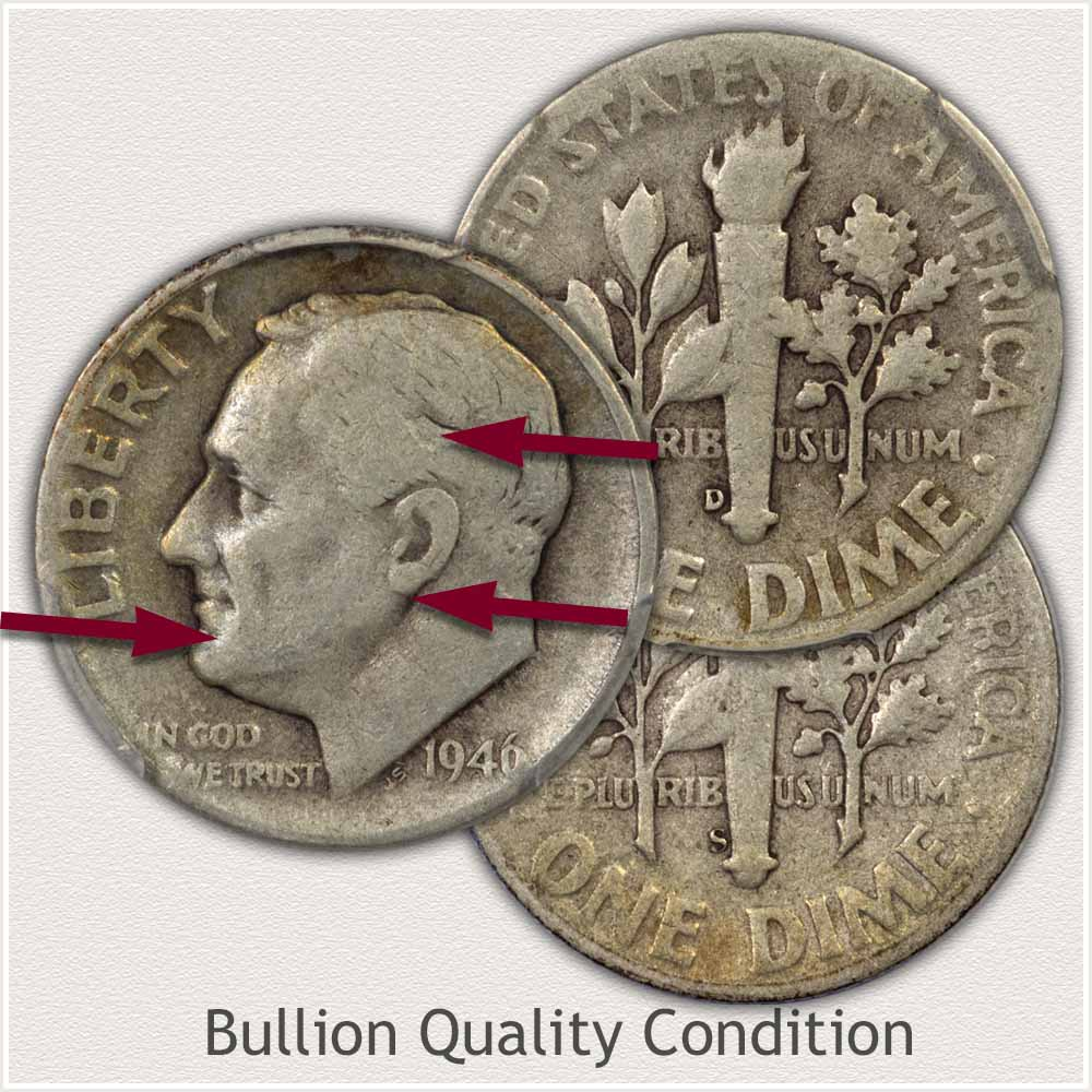 Silver Roosevelt Dimes in Bullion Condition