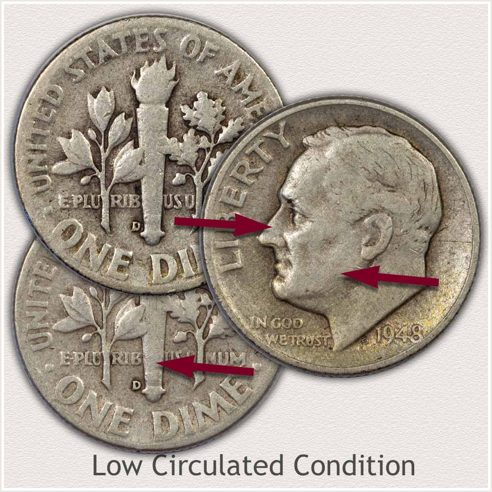 Silver Roosevelt Dimes in Low Circulated Condition