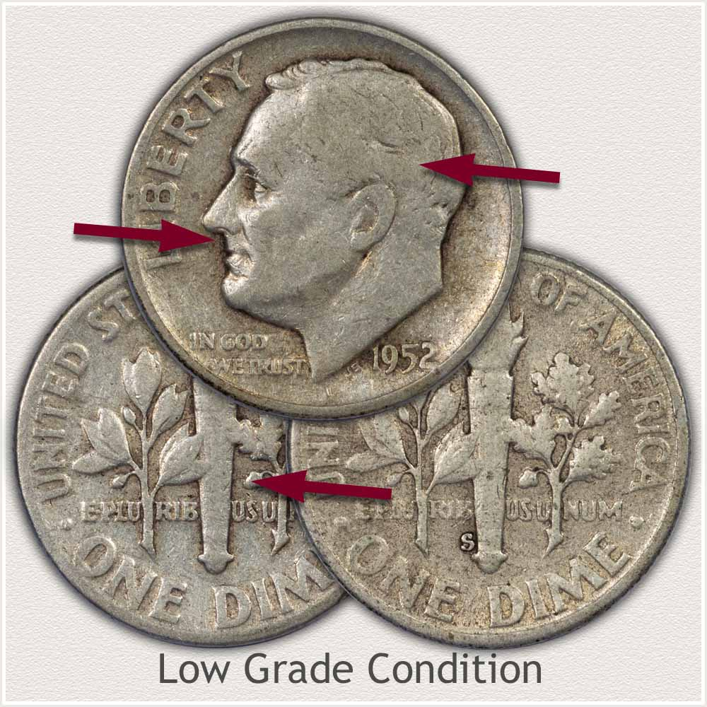 Silver Roosevelt Dimes in Low Grade Condition