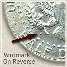 Silver Kennedy Half Dollars Mintmark on Reverse