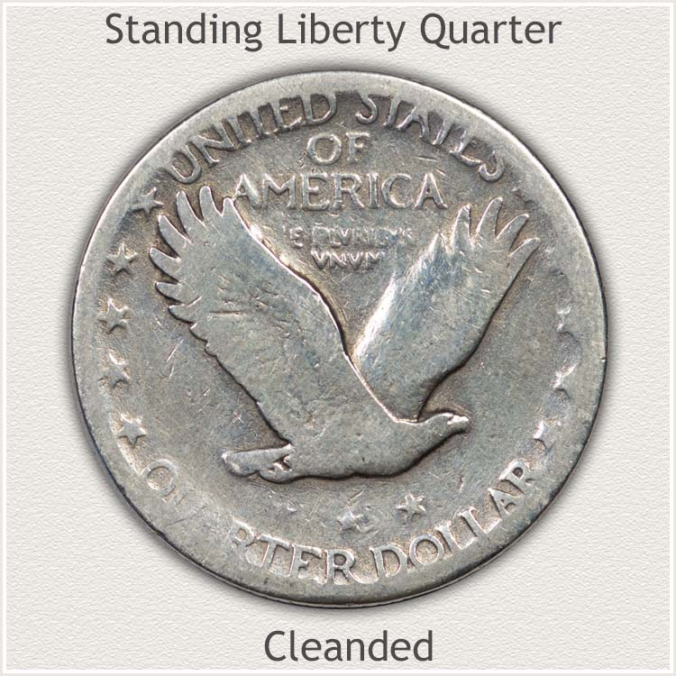 Reverse of Standing Liberty Quarter Showing Cleaning
