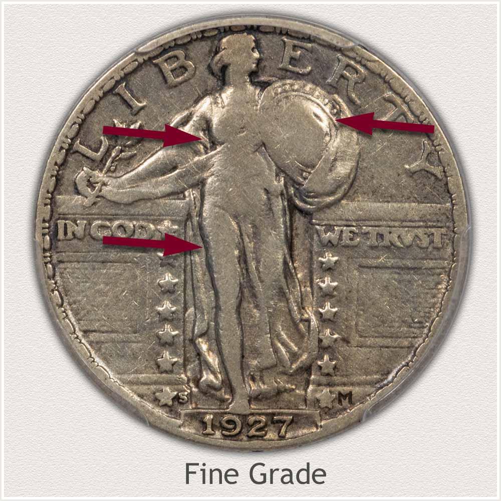 Fine Grade Standing Liberty Quarter