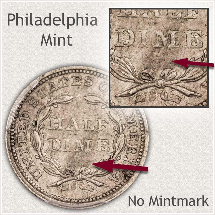 Philadelphia Mint Stars Obverse Half Dime