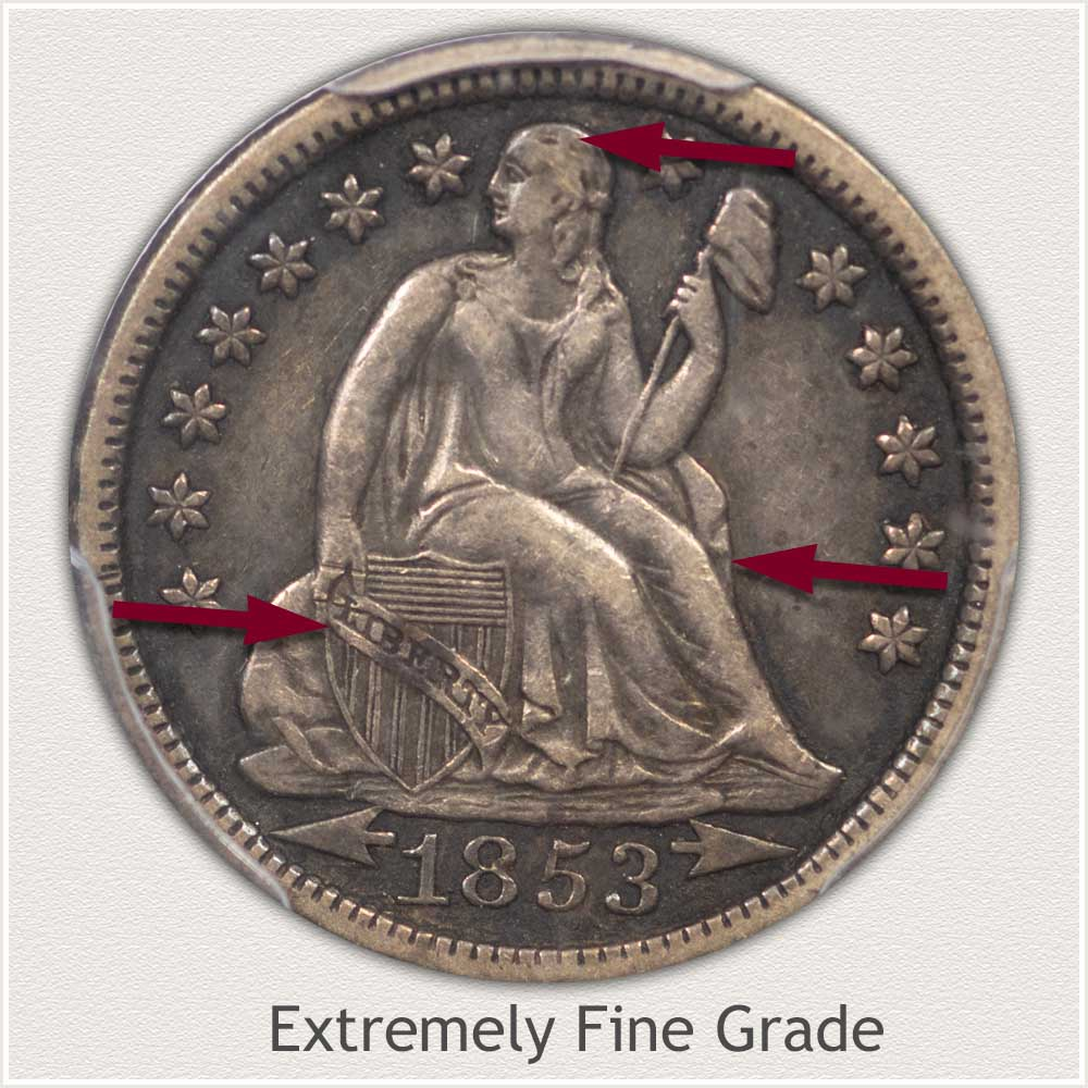 Obverse View: Extremely Fine Grade Stars Obverse-Seated Dime