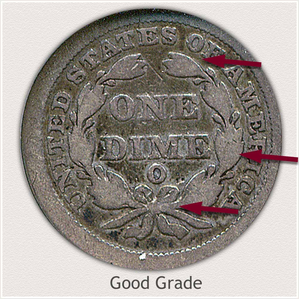 Reverse View: Good Grade Stars Obverse-Seated Dime