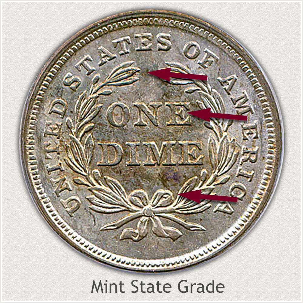Reverse View: Mint State Grade Stars Obverse-Seated Dime