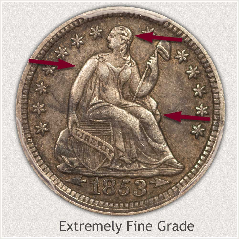 Obverse View: Extremely Fine Grade Stars Obverse Seated Half Dime