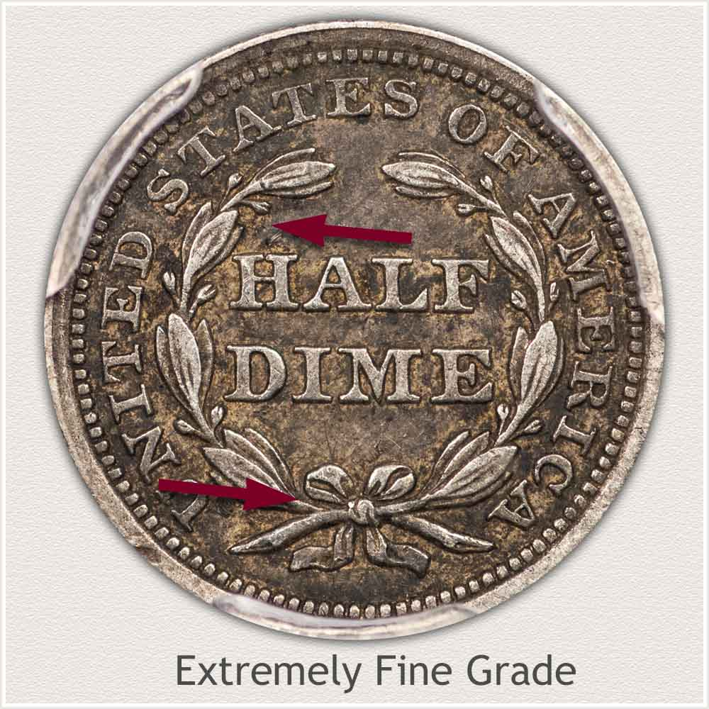 Reverse View: Extremely Fine Grade Stars Obverse Seated Half Dime