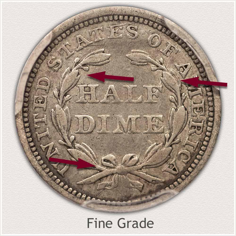 Reverse View: Fine Grade Stars Obverse Seated Half Dime