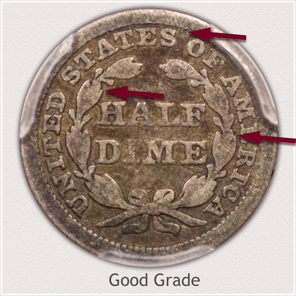 Reverse View: Good Grade Stars Obverse Seated Half Dime