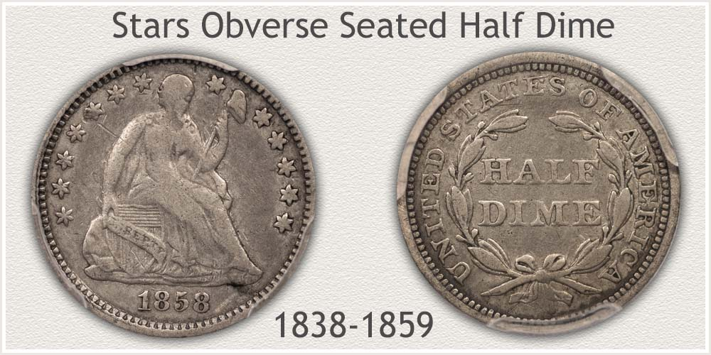 Obverse and Reverse of the Stars Seated Half Dime Variety