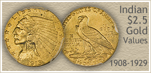 Go to...  Indian $2.5 Dollar Gold Coin Values