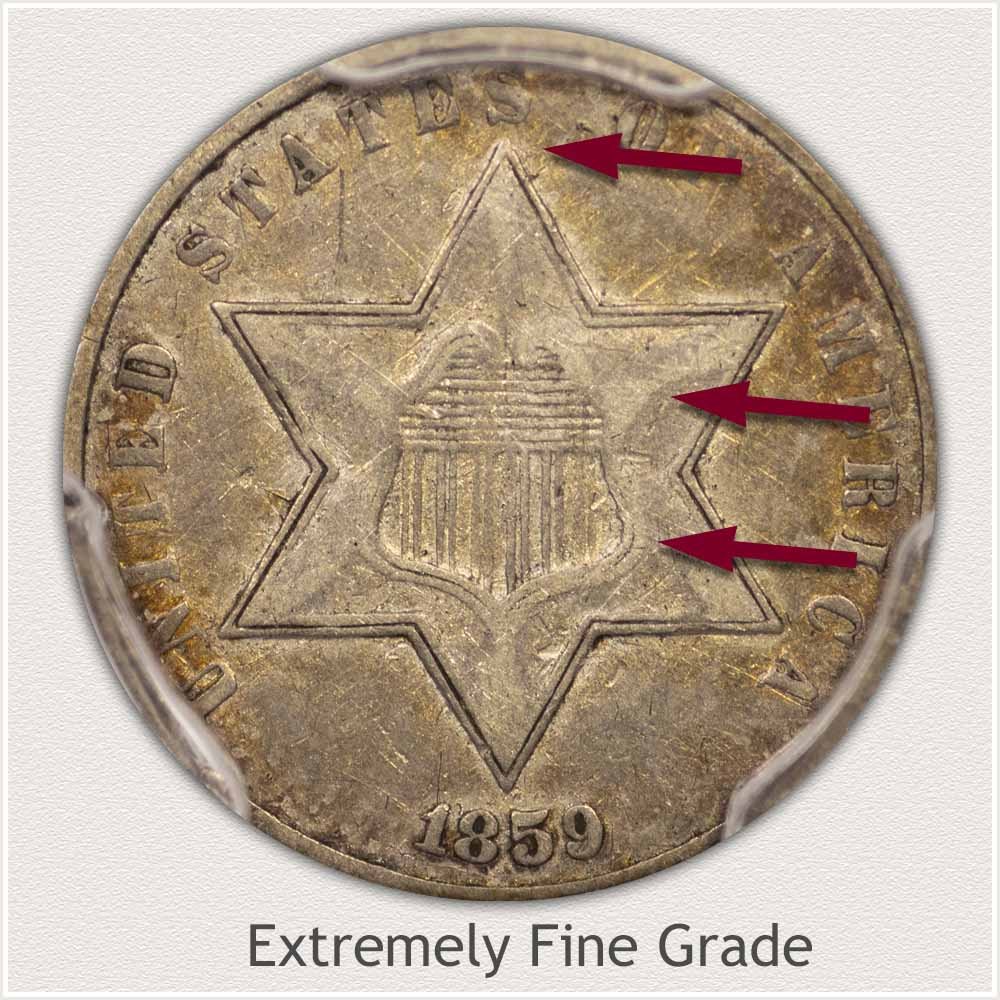 Obverse View: Extremely Fine Grade Three Cent Silver