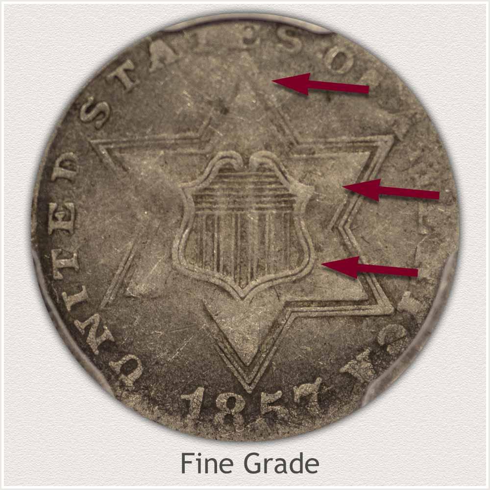 Obverse View: Fine Grade Three Cent Silver