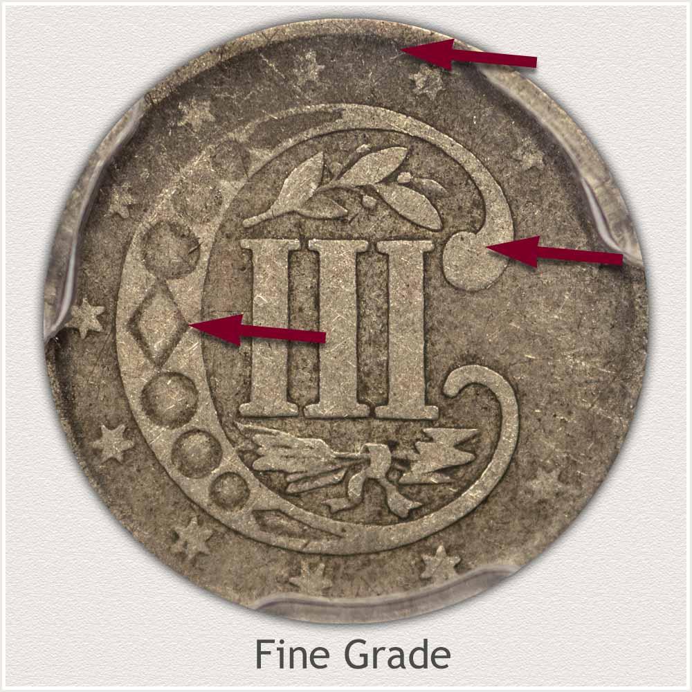 Reverse View: Fine Grade Three Cent Silver