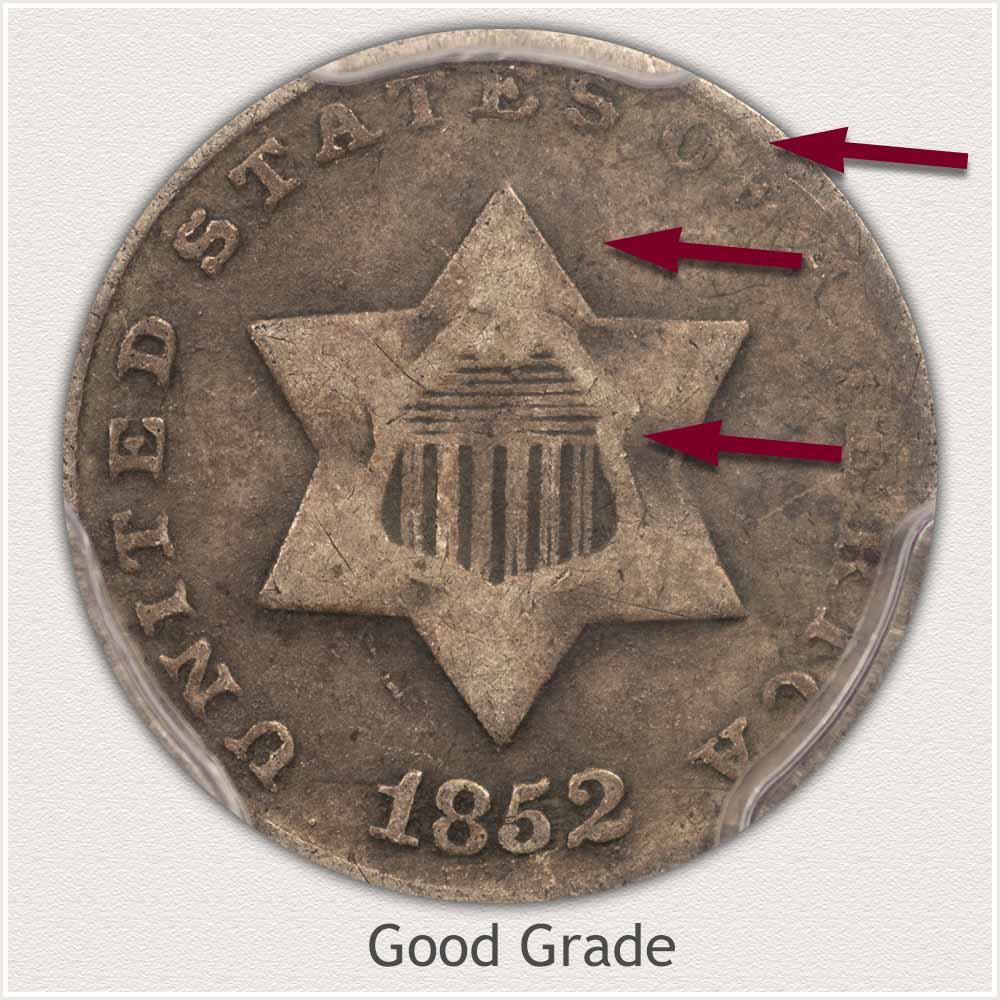 Obverse View: Good Grade Three Cent Silver