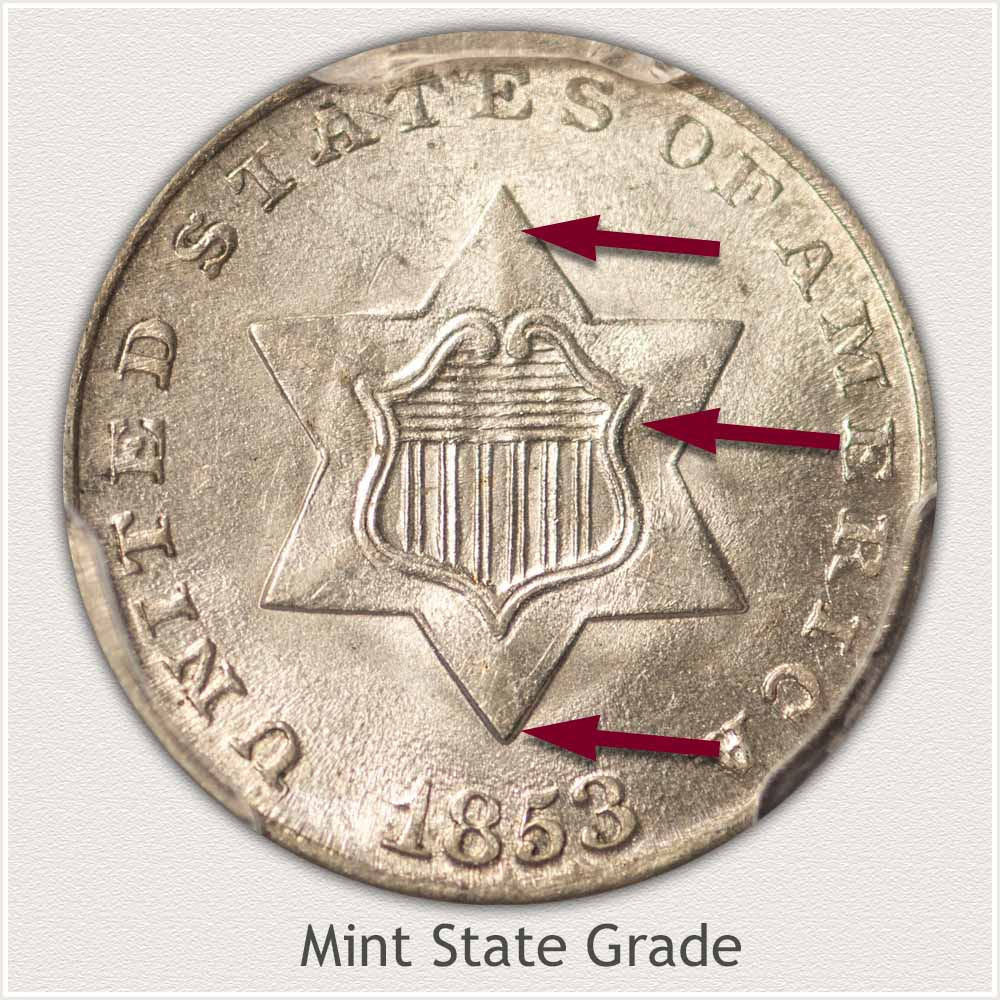 Obverse View: Mint State Grade Three Cent Silver