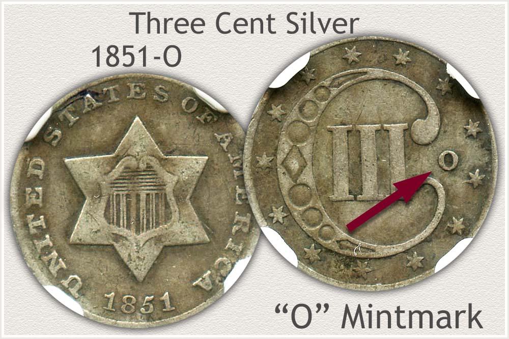 1851-O Three Cent Silver Piece