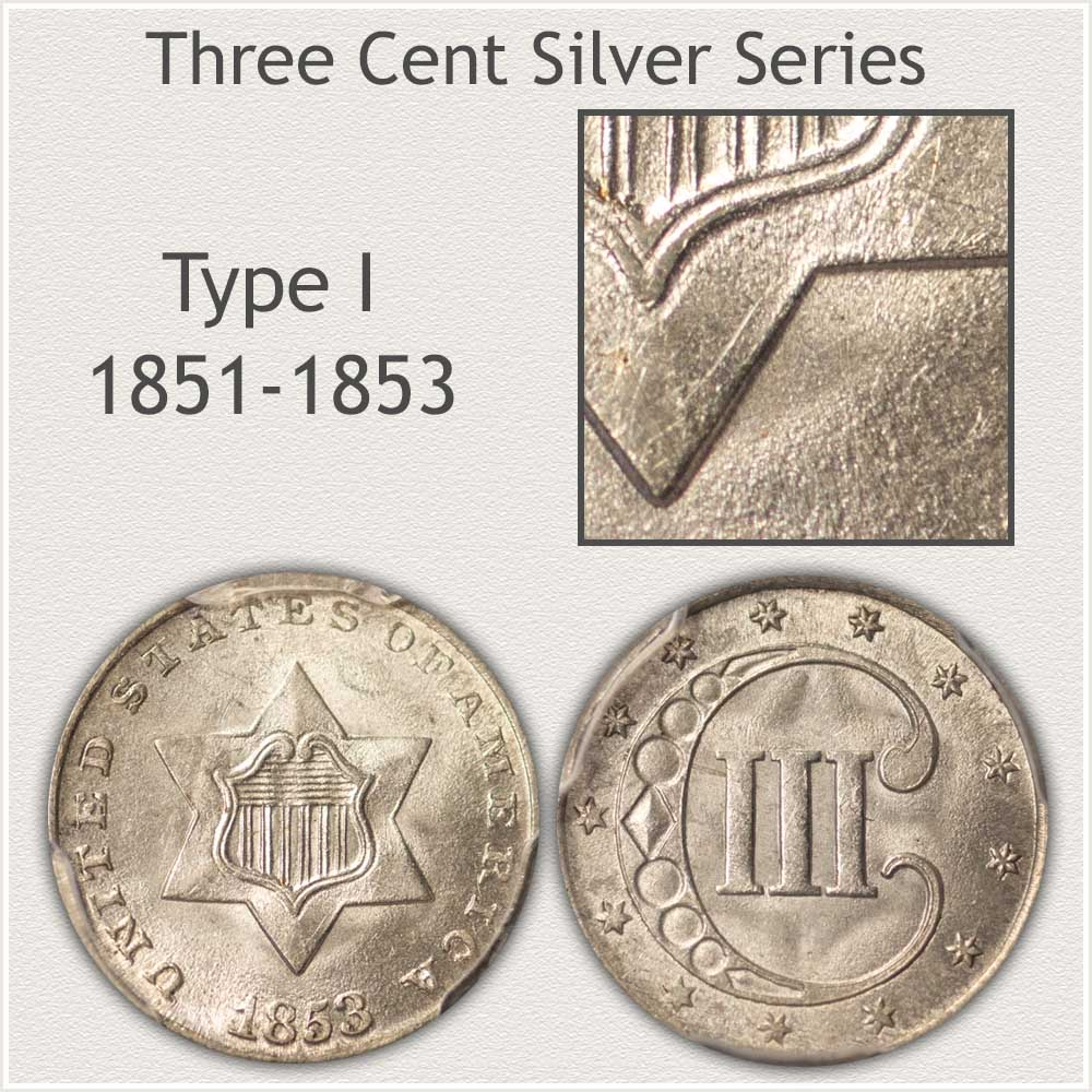 Obverse and Reverse Type I Three Cent Silver