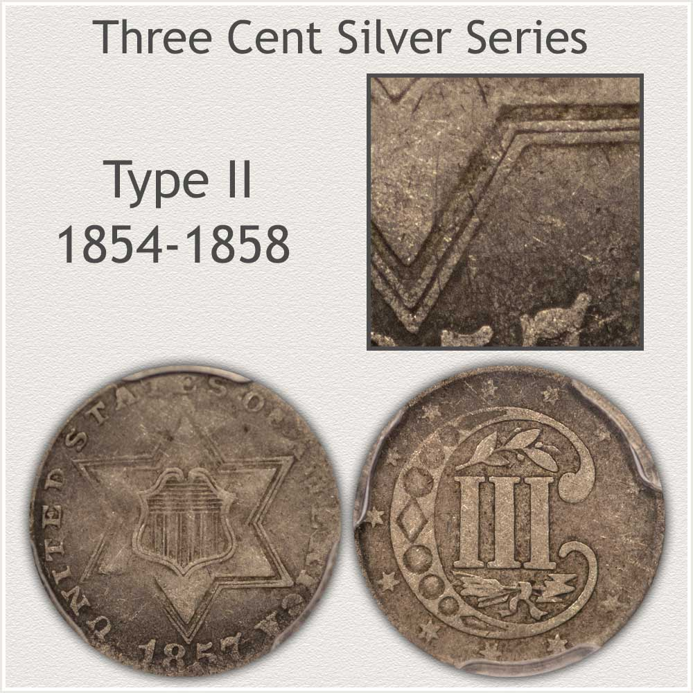 Obverse and Reverse Type II Three Cent Silver