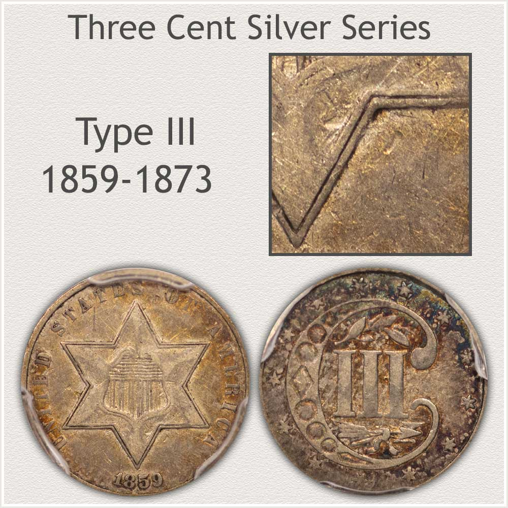 Obverse and Reverse Type III Three Cent Silver