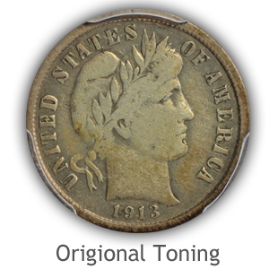 Pleasing-Origional-Toned Barber Dime