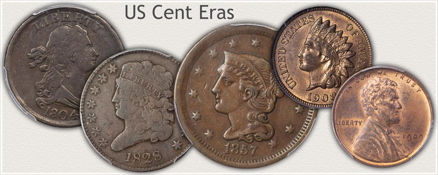 US Cents of Different Eras