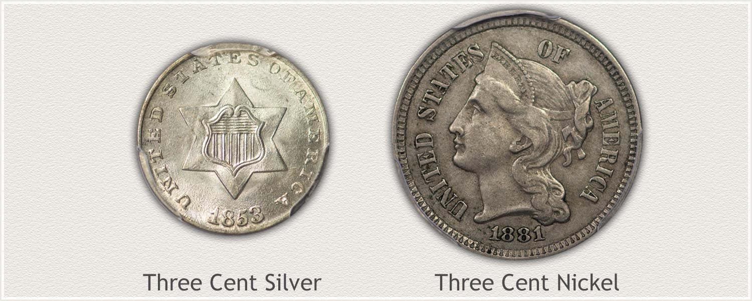Examples of US Three Cent Pieces