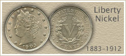 Go to...  Value of V Nickels listed by Grade
