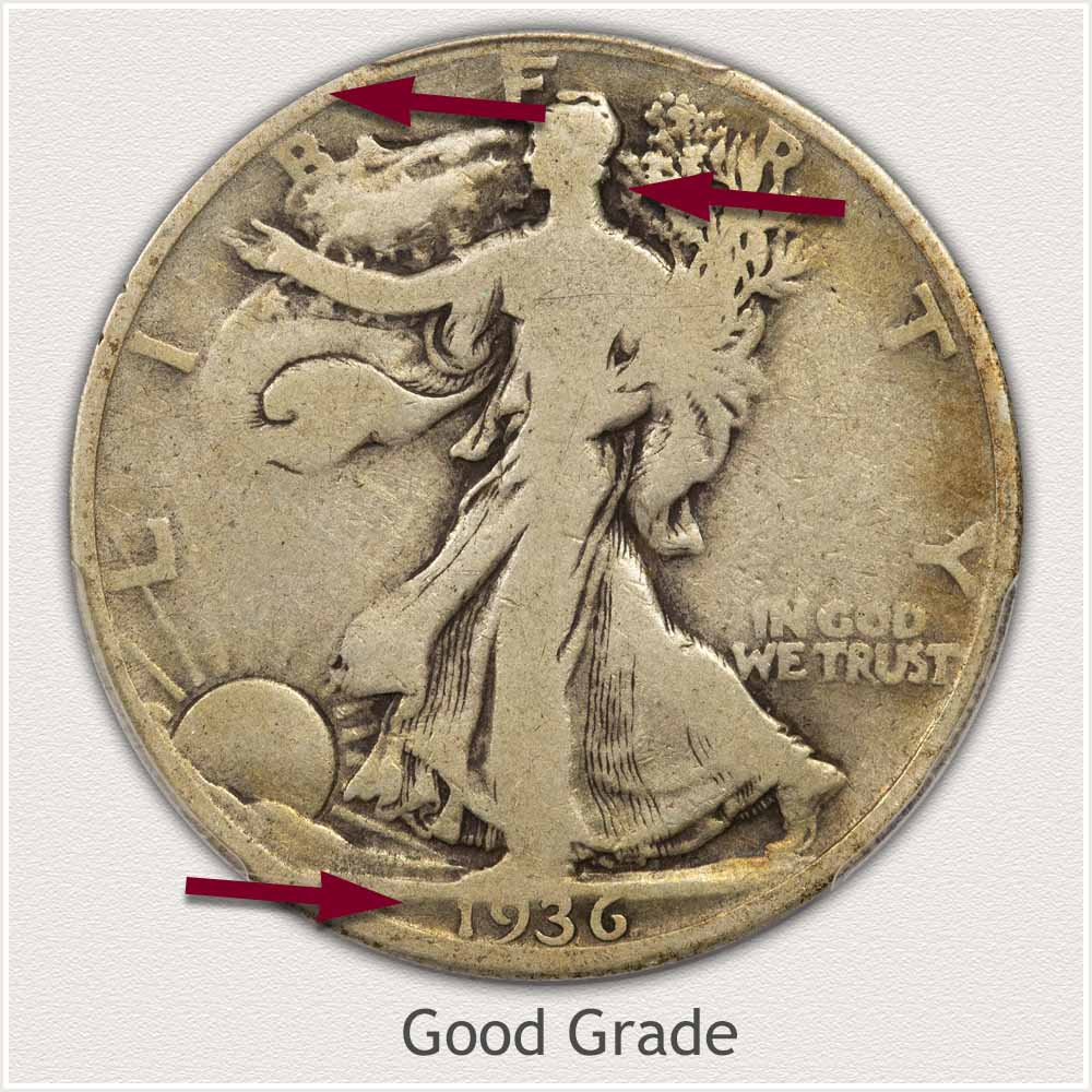Obverse View: Good Grade Walking Liberty Half Dollar
