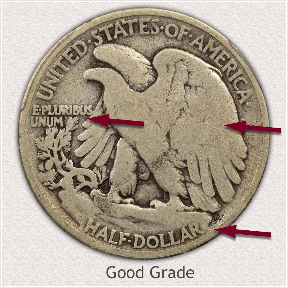 Reverse View: Good Grade Walking Liberty Half Dollar