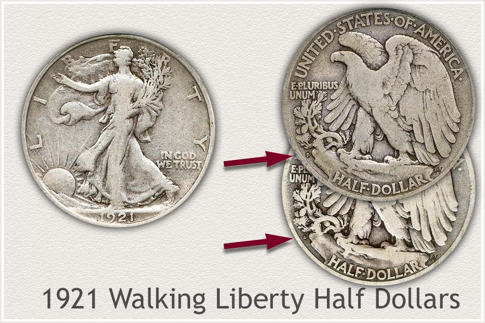 1921 Walking Liberty Half Dollars