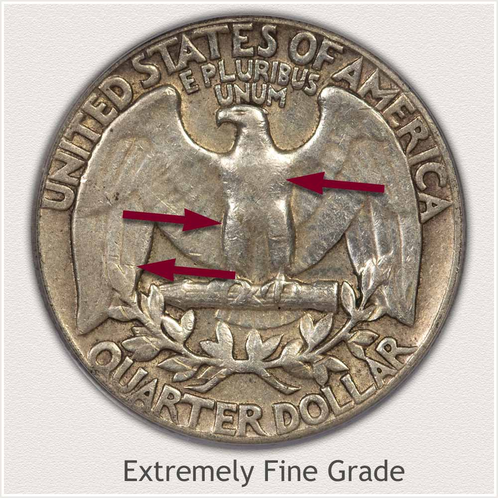 Reverse View: Extremely Fine Grade Washington Quarter